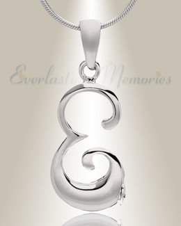 "Silver ""E"" Initial Cremation Jewelry"