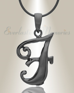 "Black ""F"" Initial Cremation Jewelry"