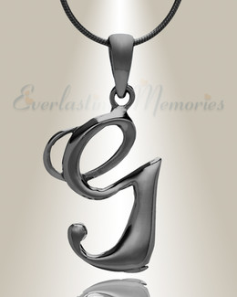 "Black ""G"" Initial Cremation Jewelry"
