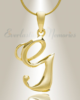 "Gold ""G"" Initial Cremation Jewelry"