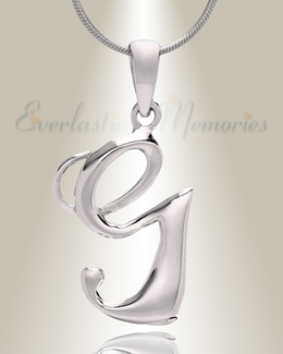 "Silver ""G"" Initial Cremation Jewelry"