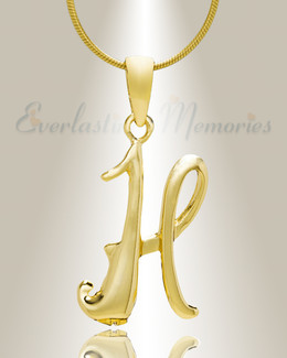 "Gold ""H"" Initial Cremation Jewelry"