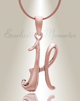 "Rose Gold ""H"" Initial Cremation Jewelry"