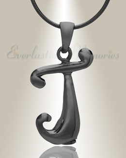 "Black ""J"" Initial Cremation Jewelry"
