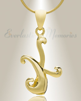 "Gold ""K"" Initial Cremation Jewelry"