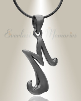 "Black ""M"" Initial Cremation Jewelry"