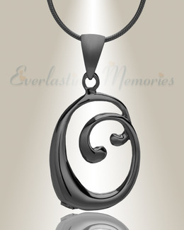 "Black ""O"" Initial Cremation Jewelry"