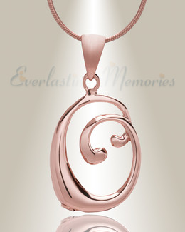 "Rose Gold ""O"" Initial Cremation Jewelry"