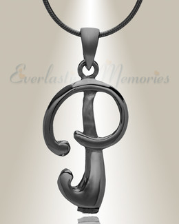 "Black ""P"" Initial Cremation Jewelry"