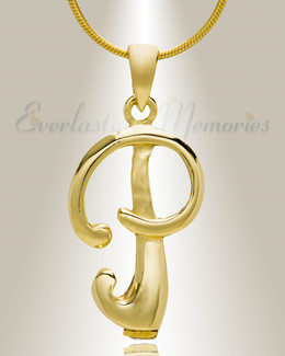 "Gold ""P"" Initial Cremation Jewelry"