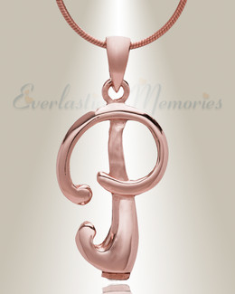 "Rose Gold ""P"" Initial Cremation Jewelry"