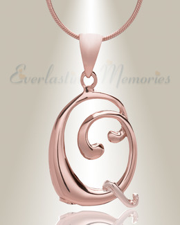 "Rose Gold ""Q"" Initial Cremation Jewelry"