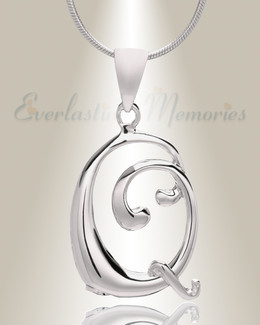 "Silver ""Q"" Initial Cremation Jewelry"