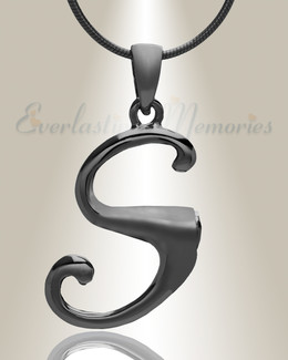 "Black ""S"" Initial Cremation Jewelry"