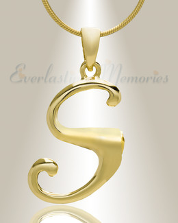 "Gold ""S"" Initial Cremation Jewelry"