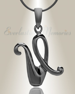 "Black ""U"" Initial Cremation Jewelry"