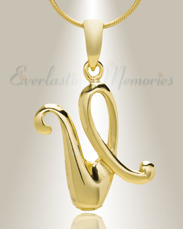 "Gold ""U"" Initial Cremation Jewelry"
