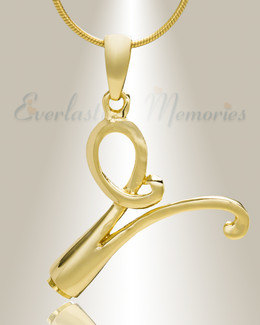 "Gold ""V"" Initial Cremation Jewelry"
