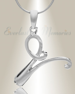 "Silver ""V"" Initial Cremation Jewelry"