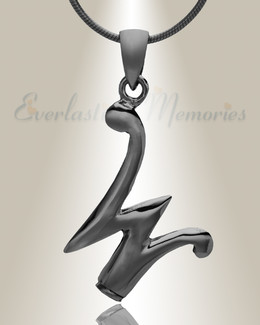 "Black ""W"" Initial Cremation Jewelry"