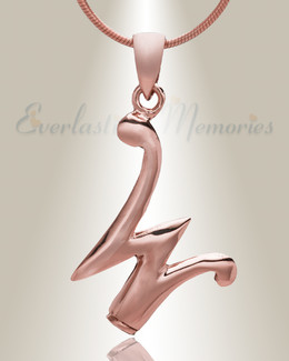 "Rose Gold ""W"" Initial Cremation Jewelry"