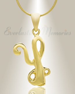 "Gold ""Y"" Initial Cremation Jewelry"