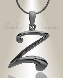 "Black ""Z"" Initial Cremation Jewelry"