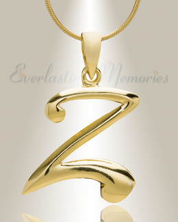 "Gold ""Z"" Initial Cremation Jewelry"