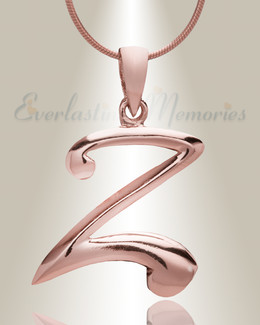 "Rose Gold ""Z"" Initial Cremation Jewelry"