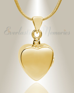 Gold Plated Simple Heart Cremation Jewelry