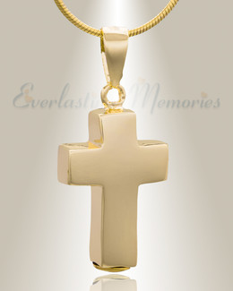 Gold Plated Faithful Cross Cremation Jewelry