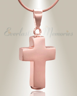 Rose Gold Faithful Cross Cremation Jewelry