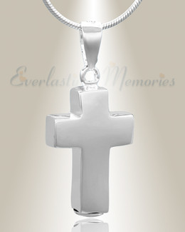 Silver Faithful Cross Cremation Jewelry