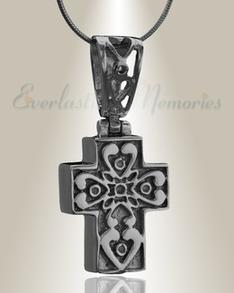 Black Loved Cross Cremation Jewelry