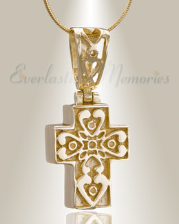 Gold Plated Loved Cross Cremation Jewelry