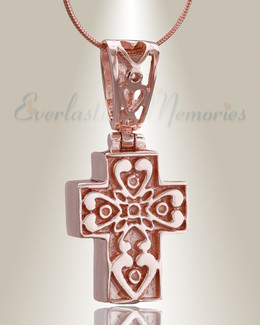 Rose Gold Loved Cross Cremation Jewelry