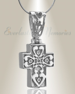 Silver Loved Cross Cremation Jewelry