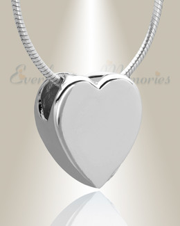 Silver Smooth Heart Cremation Jewelry