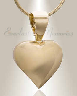 Gold Plated Caring Heart Cremation Jewelry