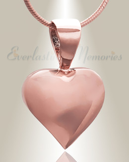 Rose Gold Caring Heart Cremation Jewelry