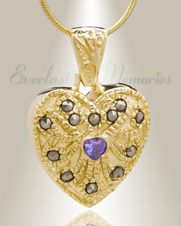 Gold Plated Jester Heart Cremation Jewelry