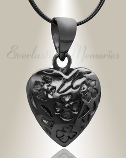 Black Gratitude Heart Cremation Jewelry