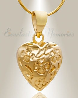 Gold Plated Gratitude Heart Cremation Jewelry