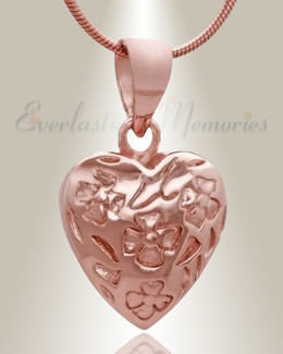 Rose Gold Gratitude Heart Cremation Jewelry