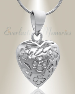 Silver Gratitude Heart Cremation Jewelry