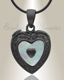 Black Tri Heart Cremation Jewelry