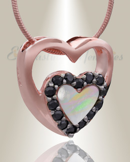 Rose Gold Together Heart Cremation Jewelry