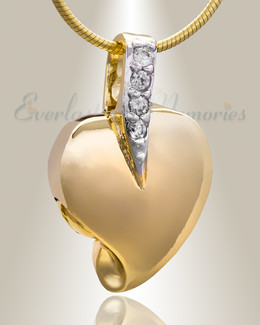 Gold Plated Heavenly Heart Cremation Jewelry
