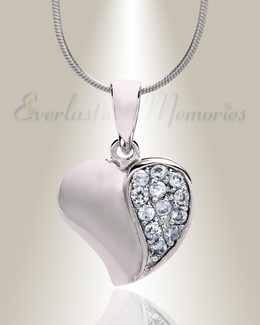 Silver Cordial Heart Cremation Jewelry
