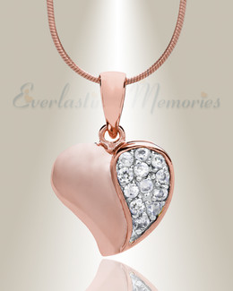 Rose Gold Cordial Heart Cremation Jewelry